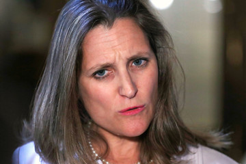 Canada Foreign Minister Chrystia Freeland speaks to media in Quebec City