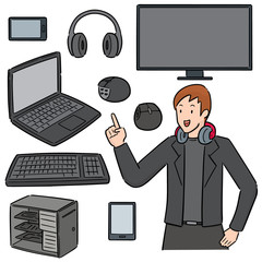 vector set of gamer and gaming equipment