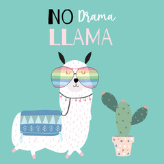 Hand drawn cute card with llama,glasses and cactus. llama not drama