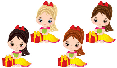 Vector Cute Little Girls with Gift Boxes