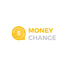 Money change chat logo. Currency exchange news and rates logotype