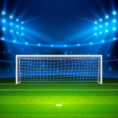 Soccer stadium. Green football field on stadium, arena in night illuminated bright spotlights. Vector illustration