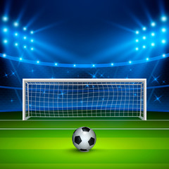 Soccer ball on green football field on stadium, arena in night illuminated bright spotlights. Vector illustration