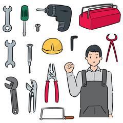vector set of mechanic and repairing tool