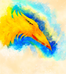 fire phoenix and softly blurred watercolor background.