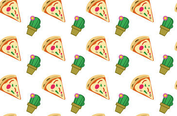 Decoration seamless pattern with pizza and cactus. white transparent background. Vector illustration