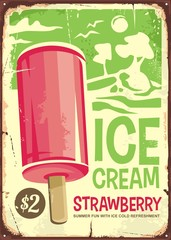 Ice cream vintage ad design with pink strawberry ice cream on green background. Retro poster advertising for sweet tasty refreshment.