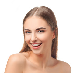 Laughing young woman. Portrait on a white background