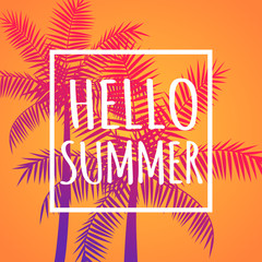 Hello summer orange banner with coconut palms, vector