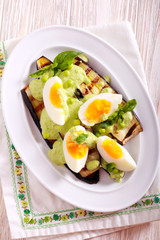 Grilled eggplant, pea sauce salad