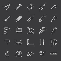 line construction tools icons set on dark background