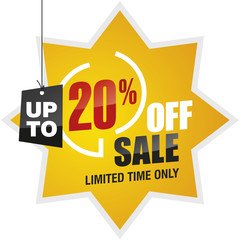 20 percent off summer sale yellow red black label icon