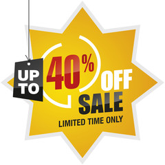 40 percent off summer sale yellow red black label icon