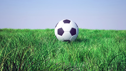 3d soccer ball on grass football field