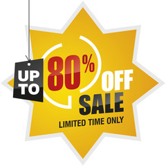 80 percent off summer sale yellow red black label icon