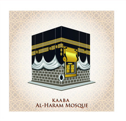 kaaba mosque isolated white. (holy mecca building moslem, for hajj, fitr, adha, kareem). suitable for card, printing material, gift, banner sticker and other. easy to modify