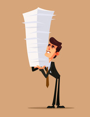 Unhappy office worker businessman character holding big heap pile stock paper document work. Hard work concept flat cartoon design graphic isolated illustration