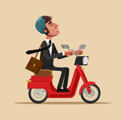Happy smiling businessman office worker character riding bike and move to work. Healthy lifestyle transportation concept flat cartoon design graphic isolated illustration