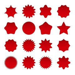 Price star burst shapes. Vector red bursting stars symbols isolated on white background, circle star badges or vector sunburst stickers