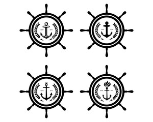 Ship and Boat Helm Steering Wheel with Anchor above the Wave Water Ocean Logo Symbol