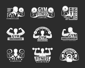Gym Emblem Set. Bodybuilding and Fitness Club. Monochrome style. isolated on black background