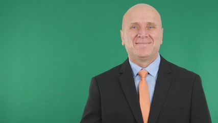Businessman Image Smiling Happy With Green Screen in Background