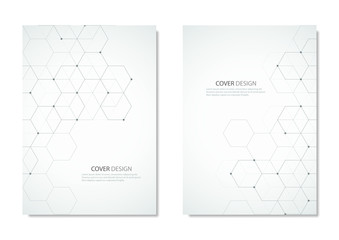 Technology and science vector brochure or cover design. Geometric abstract background with hexagons elements.
