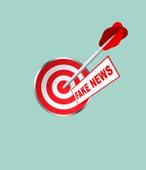 Zielscheibe mit Dartpfeil und Schild mit Fake News. 3d render