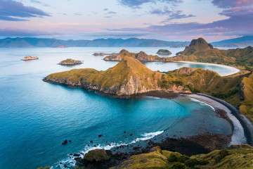 Left side coast from top view of 'Padar Island' in a morning before sunrise, Komodo Island (Komodo National Park), Labuan Bajo, Flores, Indonesia
