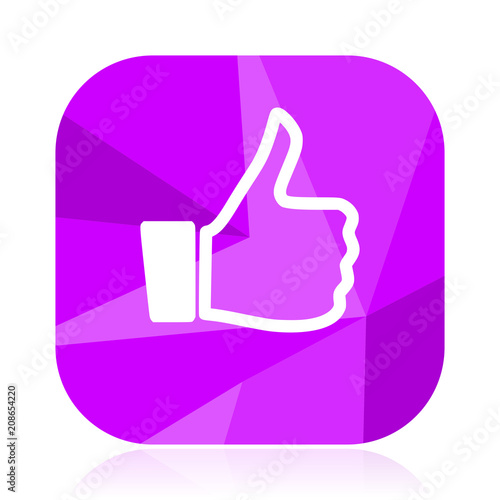 Like Flat Vector Icon Thumb Up Violet Web Button Ok Internet