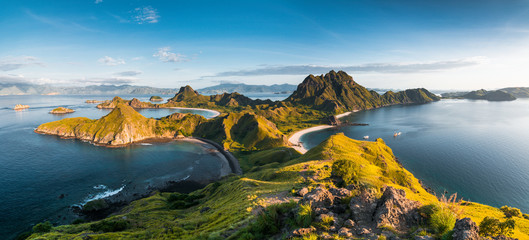 Top view of 'Padar Island' in a morning from Komodo Island (Komodo National Park), Labuan Bajo, Flores, Indonesia