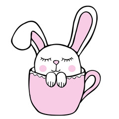rabbit sits in tea cup. stock illustration