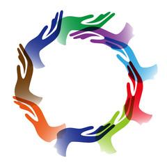 Diversity hands circle background