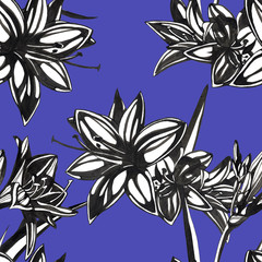 flowers seamless patern. Hand drawn ink illustration. Wallpaper or fabric design.