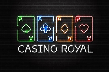 Vector realistic isolated neon sign of Casino Royal logo with playing cards for decoration and covering on the wall background. Concept of casino winning, award ceremony and jackpot.