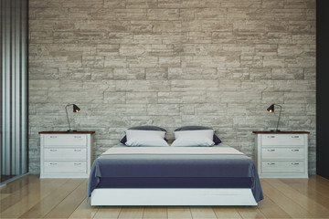 Modern bedroom with copyspace