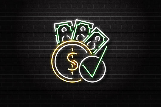 Vector realistic isolated neon sign of cash loans logo for decoration and covering on the wall background. Concept of fast money and financial crisis.