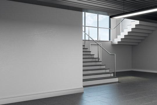 Light school hallway interior with copyspace
