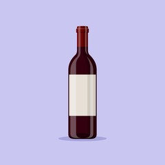 Vector illustration of a red wine bottle isolated on blue background. Alcoholic drink in flat cartoon style.