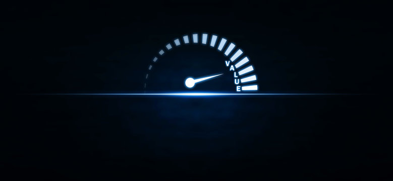 Speedometer with value word on blue light. Business concept