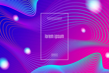 Abstract vector background with dynamic wave linear spheres, Vector illustration. Multipurpose design can be used as cover, poster, flyer or web page background.