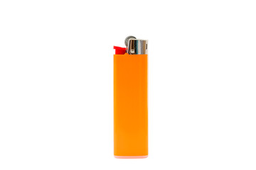 Orange lighter isolated on white background, with clipping path. Design element.