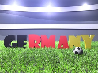 3D rendering of Germany word puted on the green grass
