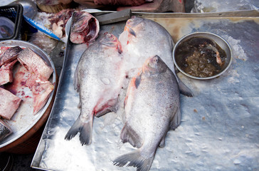 Black pomfret fish sold in the market mornings, Songkhla province Thailand country of healthy foods