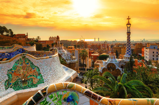 View of the city from Park Guell in Barcelona, Spain