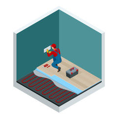 Isometric layers of infrared floor heating system under laminate floor concept. Home repair isometric template. Underfloor heating vector illustration.