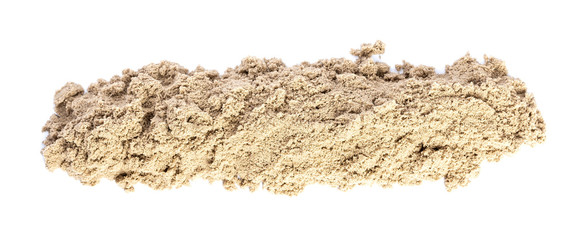 Kinetic Sand In A Heap Close-up For Children Creativity And Indoor Or Outdoor Game Isolated On White Background. Panorama