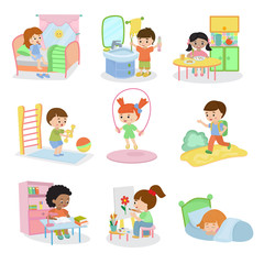Kids everyday activities vector set children daily activity routine in childhood character active child eating or studying illustration sleeping girl or playing boy in childroom isolated on white