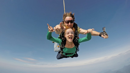 Skydiving tandem happiness