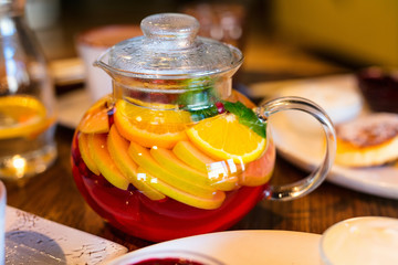 Fruit tea in glass pot